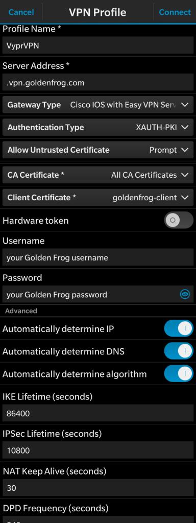 黑莓10的VyprVPN IPsec VPN设置教程